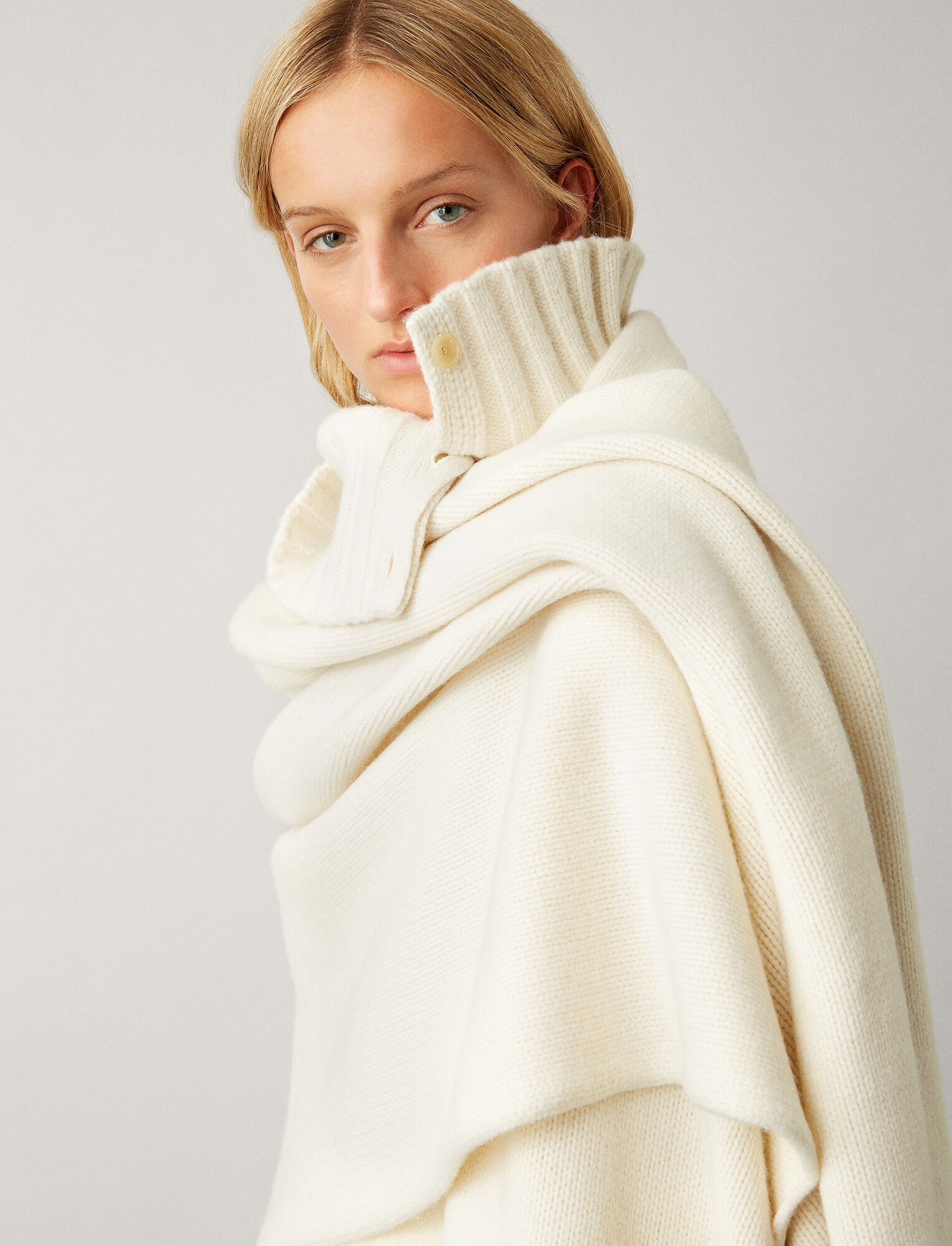 Joseph, Boiled Wool Snood Scarf, in CREAM