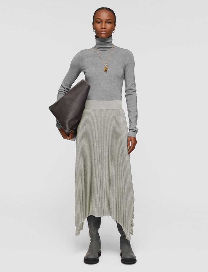 Joseph, Pleated Flannel Ade Skirt, in Dove Grey