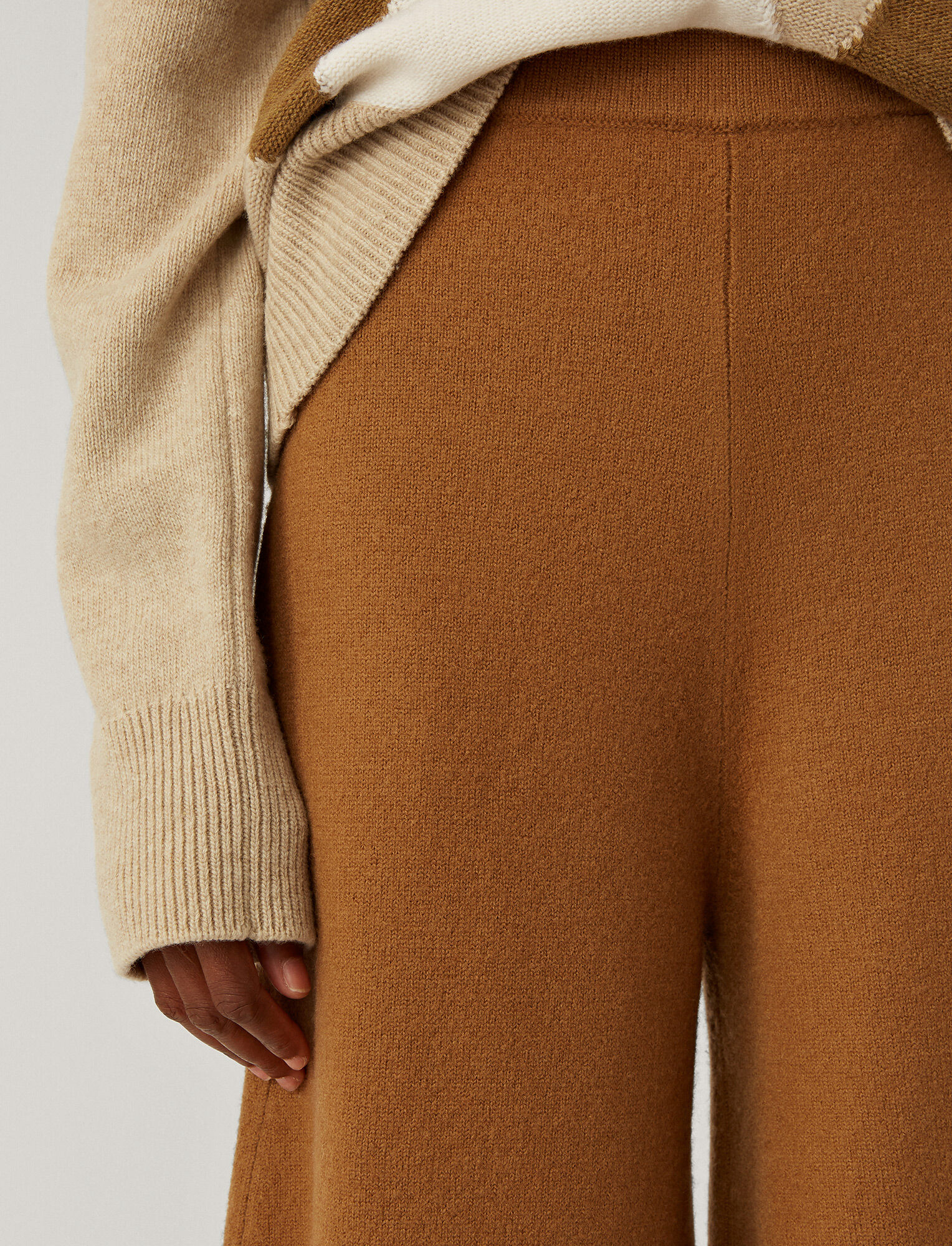 Joseph, Culotte Pants Boiled Wool Knit, in Camel
