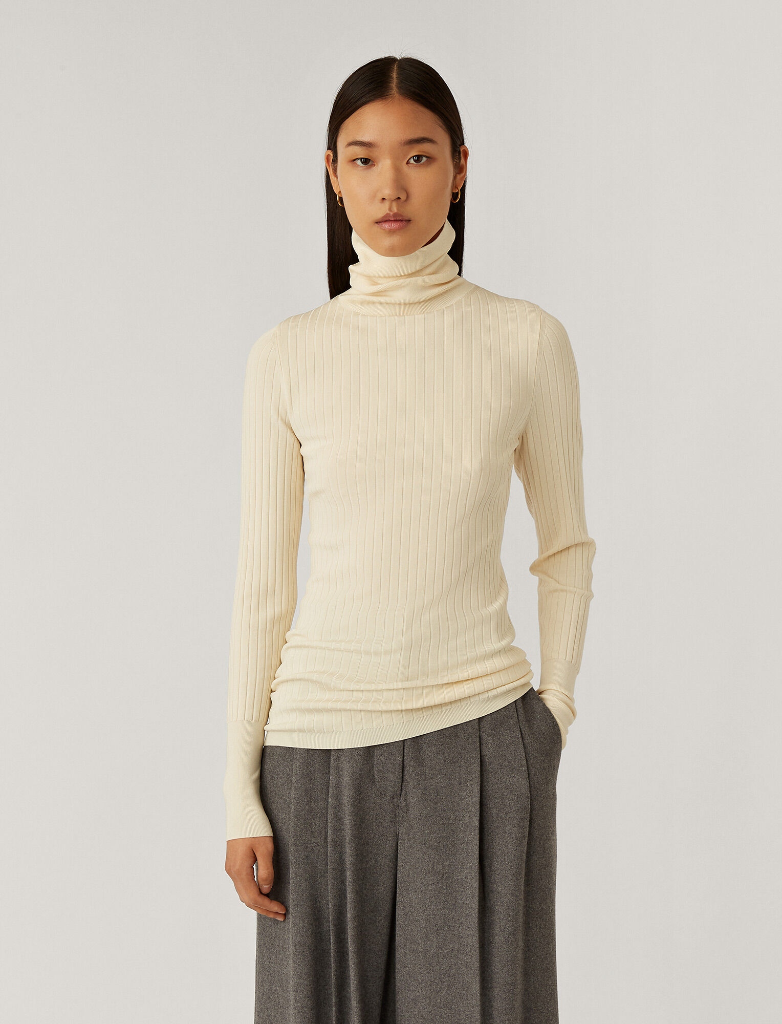 Joseph, High Neck Shiny Knit, in Ivory
