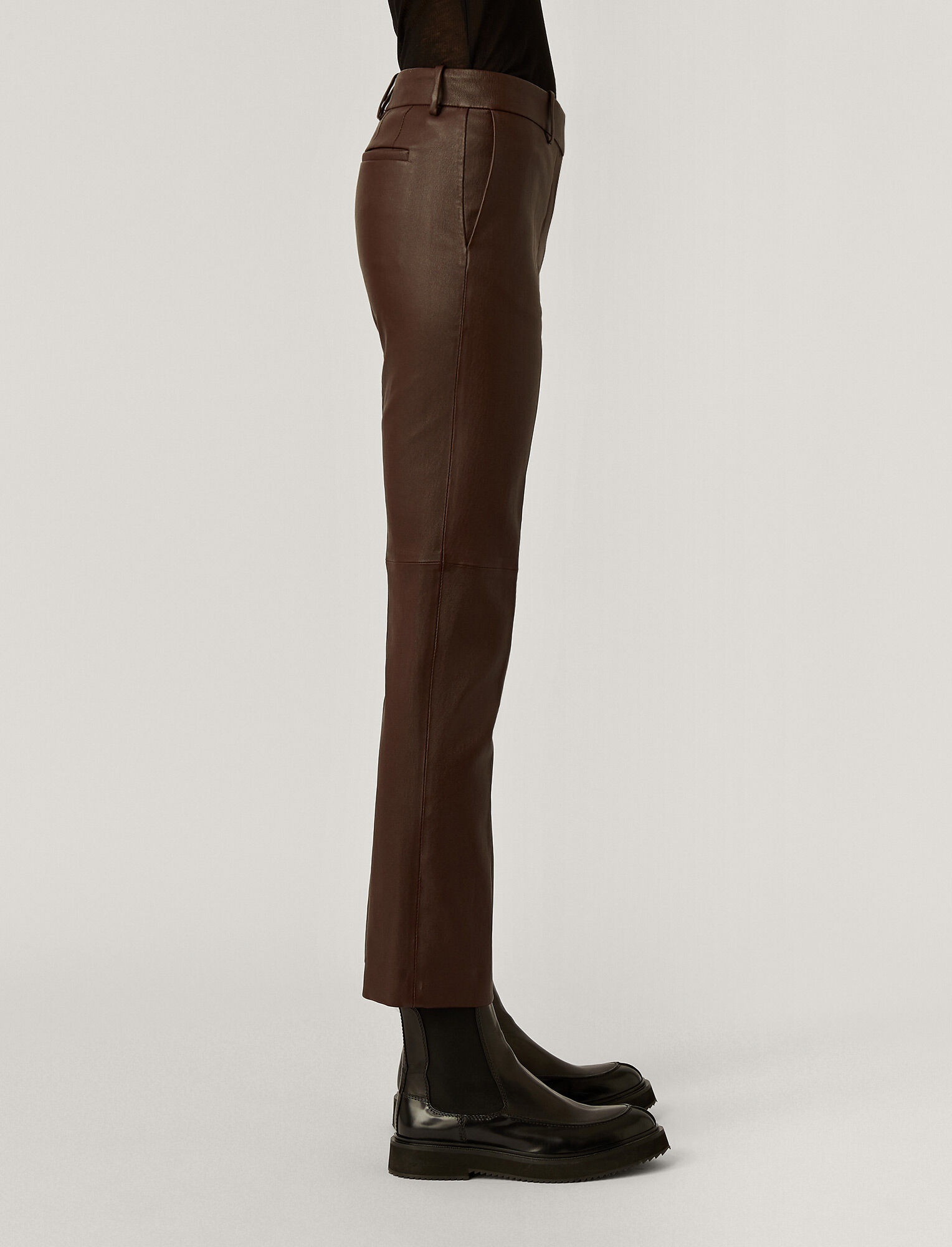 Joseph, Coleman Leather Stretch Trousers, in Plum