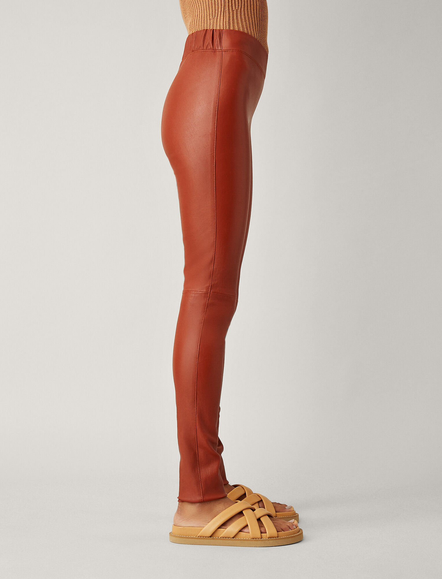 Joseph, Stretch Leather Leggings, in RUST
