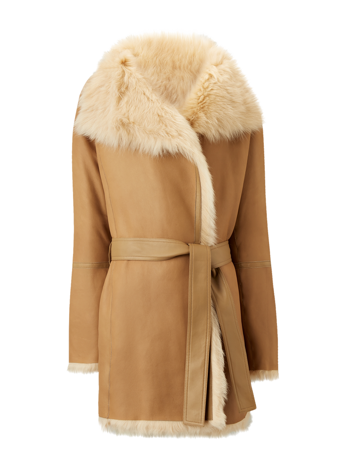 Joseph, Liman Short Soft Toscana Sheepskin, in CAMEL