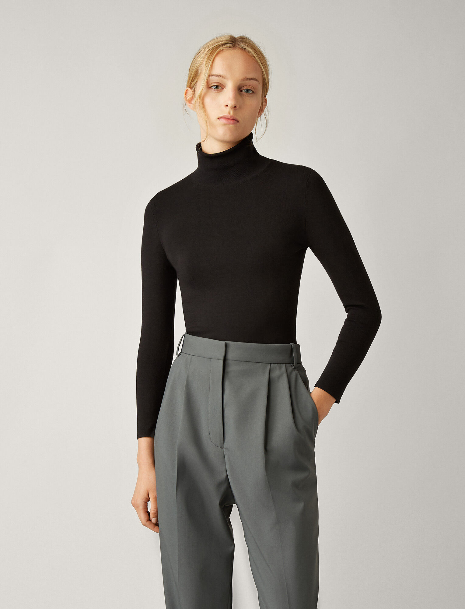 Joseph, Turtle Neck Silk Stretch Knit, in BLACK