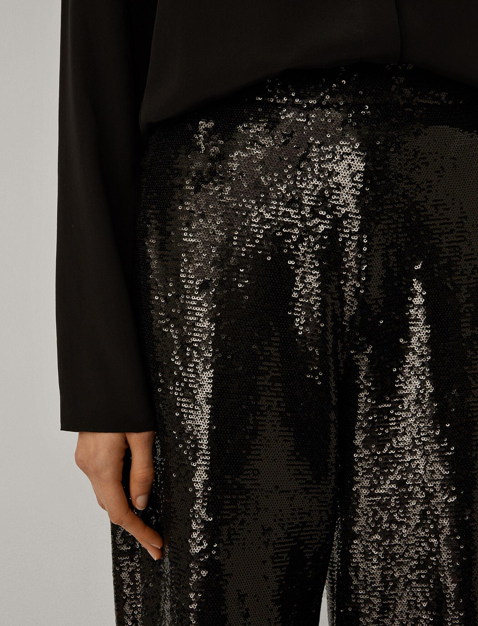Joseph, Sequin Tawny Trousers, in BLACK
