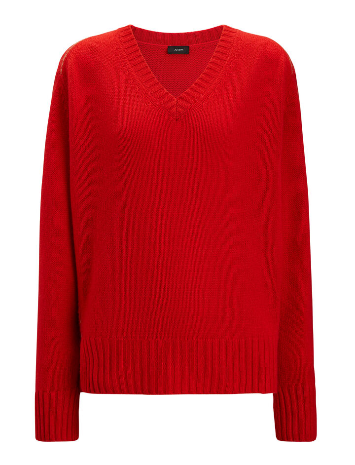 Joseph, V Neck Open Cashmere Knit, in FIRE