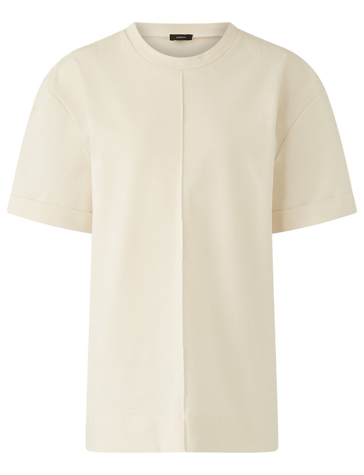 Joseph, Rd Nk Ss-Paper Jersey, in IVORY
