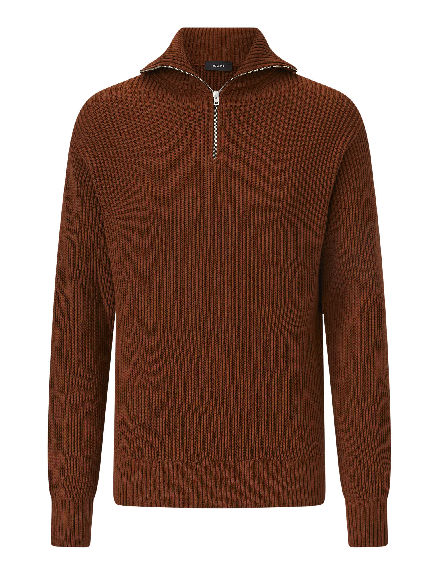 Joseph, High Neck Zip Cote Anglaise Knit, in RUST