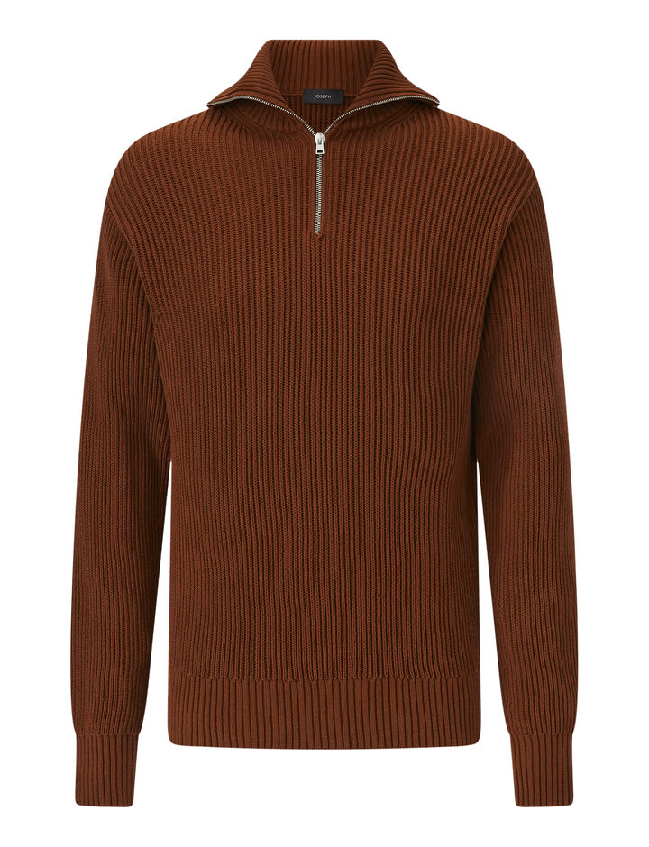 Joseph, High Nk Zip-Cote Anglaise, in RUST