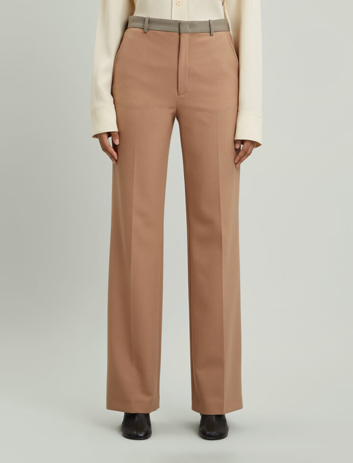 Joseph, New Tropez Comfort Wool Trousers, in DARK CAMEL
