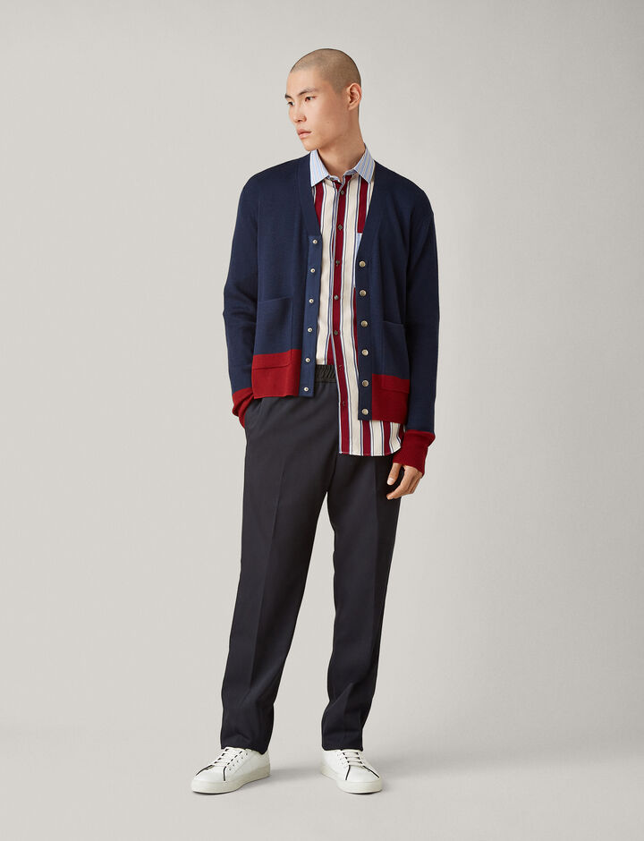 Joseph, V Neck Cardigan Fine Rib + Snaps Knit, in AIR FORCE