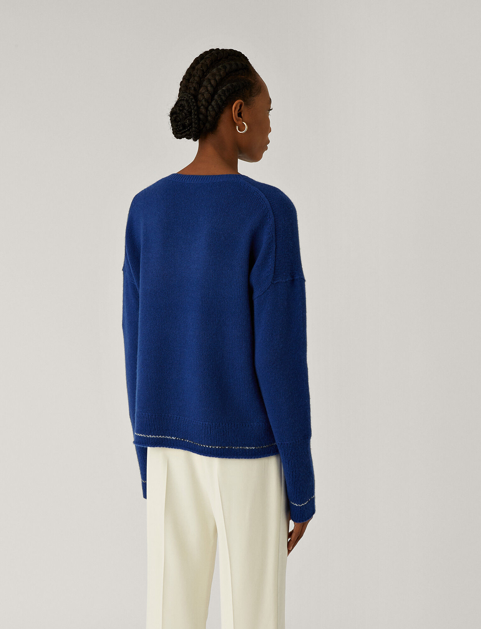 Joseph, V Neck Open Cashmere Knit, in KLEIN
