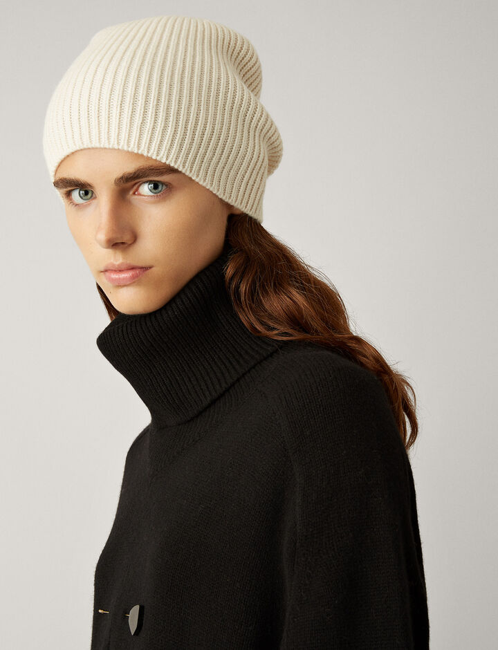 Joseph, Wool Cashmere Knit Hat, in ECRU