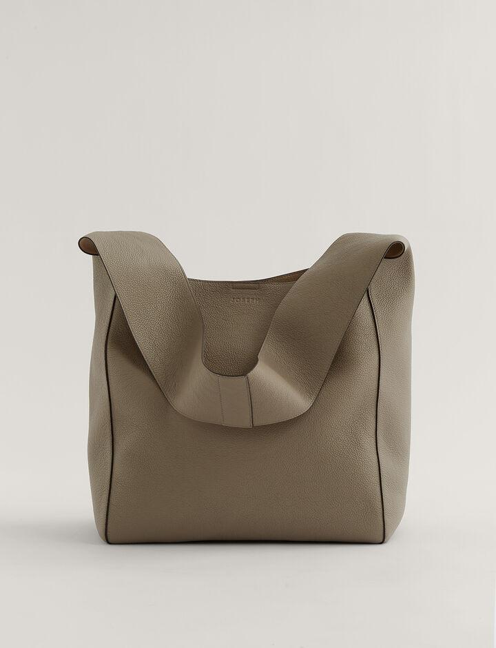 Joseph, Slouch Xl Grain Leather Shoulder Bag, in Grey