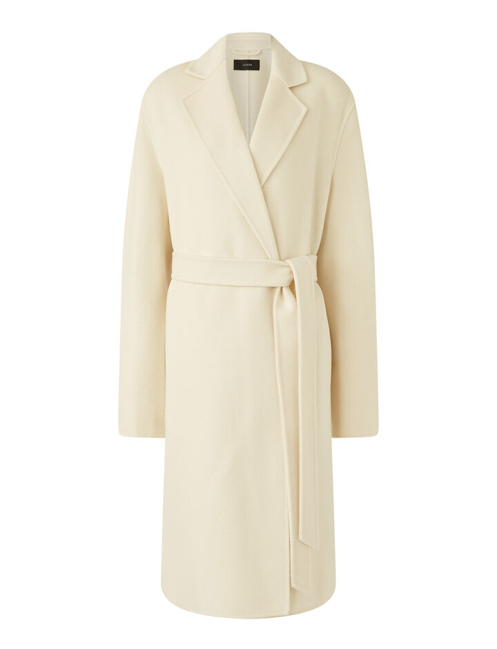 Joseph, Cenda Long Dbl Face Cashmere Coats, in Ivory