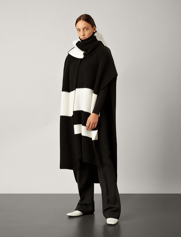 Joseph, Large Cote Anglaise Scarf, in BLACK/CREAM