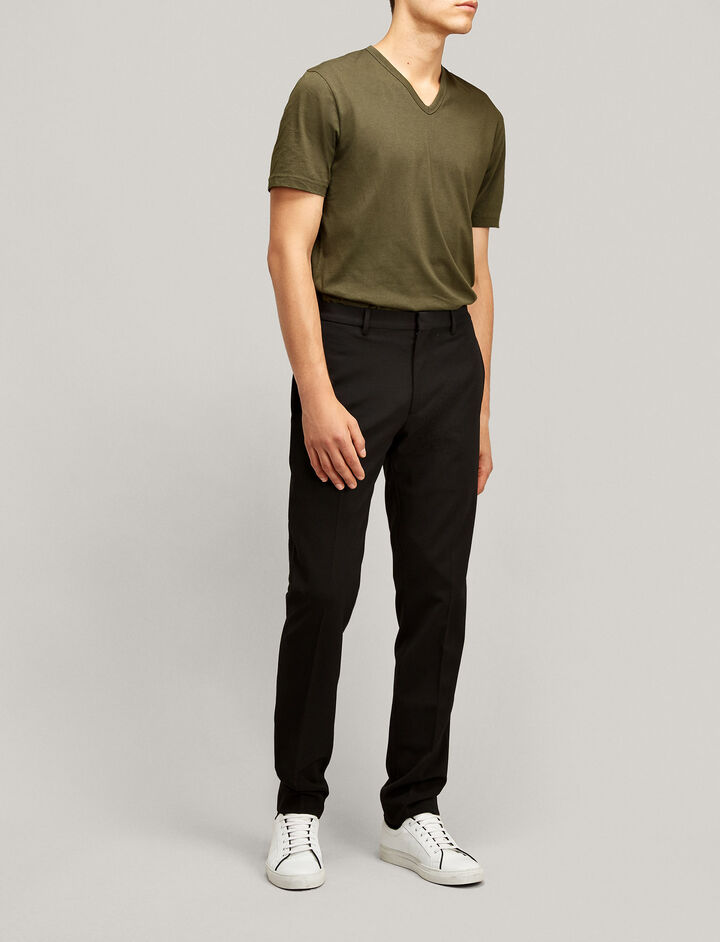Joseph, V Neck Mercerized Jersey Tee, in MILITARY