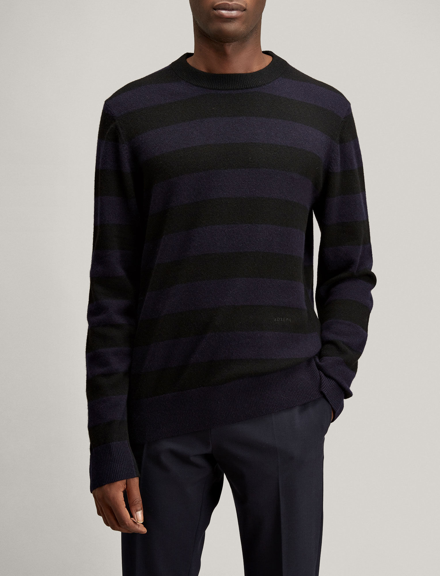 Joseph, Stripe Mongolian Cashmere Knit, in BLACK/NAVY
