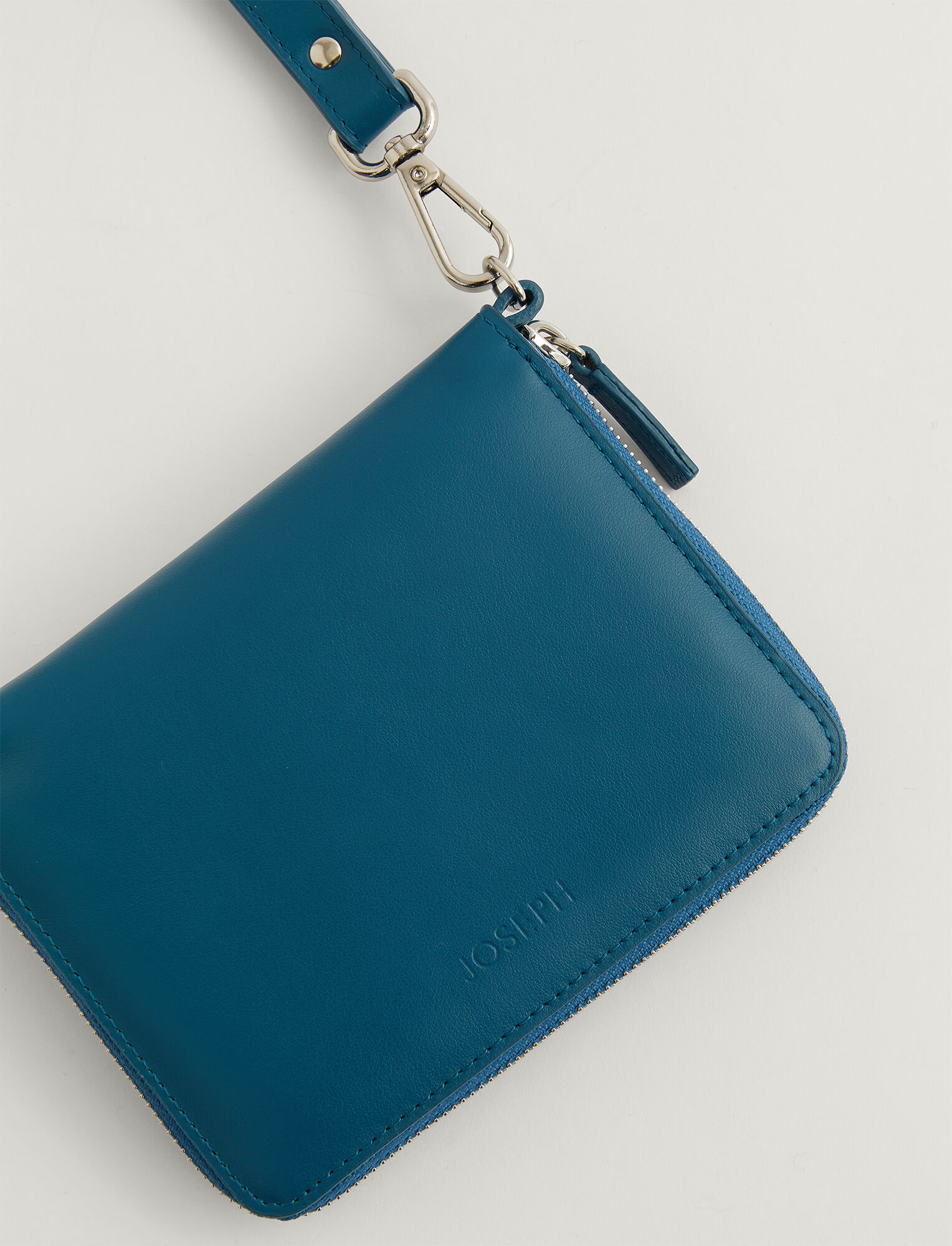 Joseph, Leather Strap Zip Wallet, in BLUE STEEL