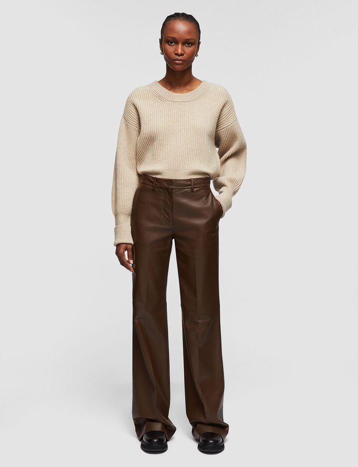 Joseph, Nappa Leather Morissey Trousers, in PINECONE