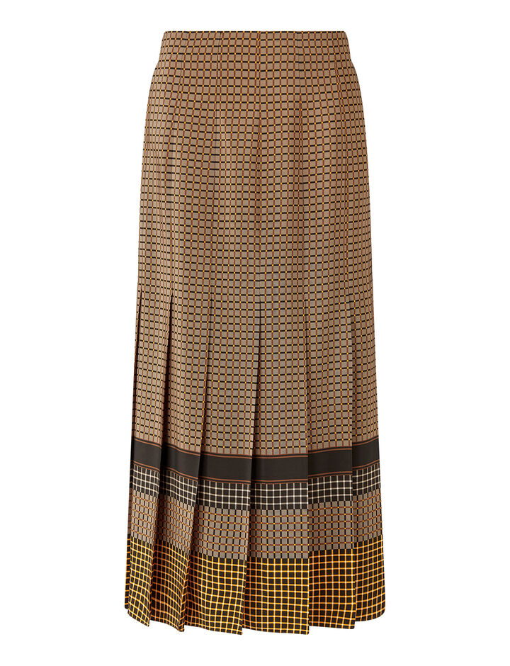 Joseph, Saria Silk Plaid Skirts, in Saddle/Black