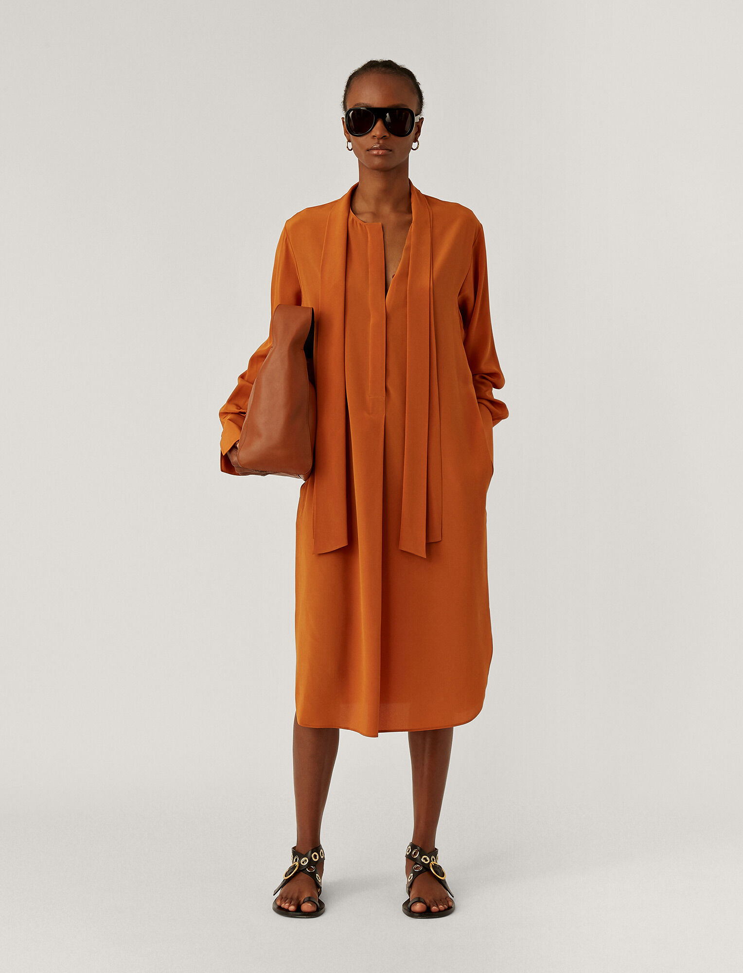 Joseph, Dorianne Crepe De Chine Dress, in Fox