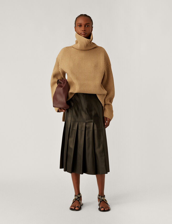 Joseph, High Nk Cardigan Stitch Knitwear, in Light Cognac