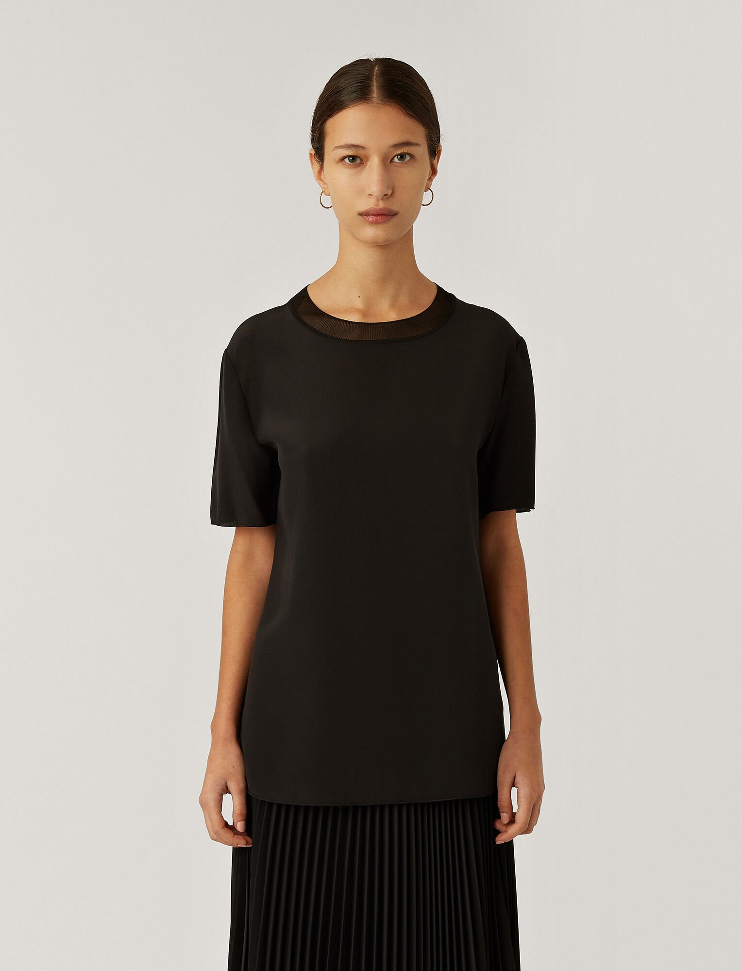 Joseph, Crepe de Soie Rubin Top, in BLACK