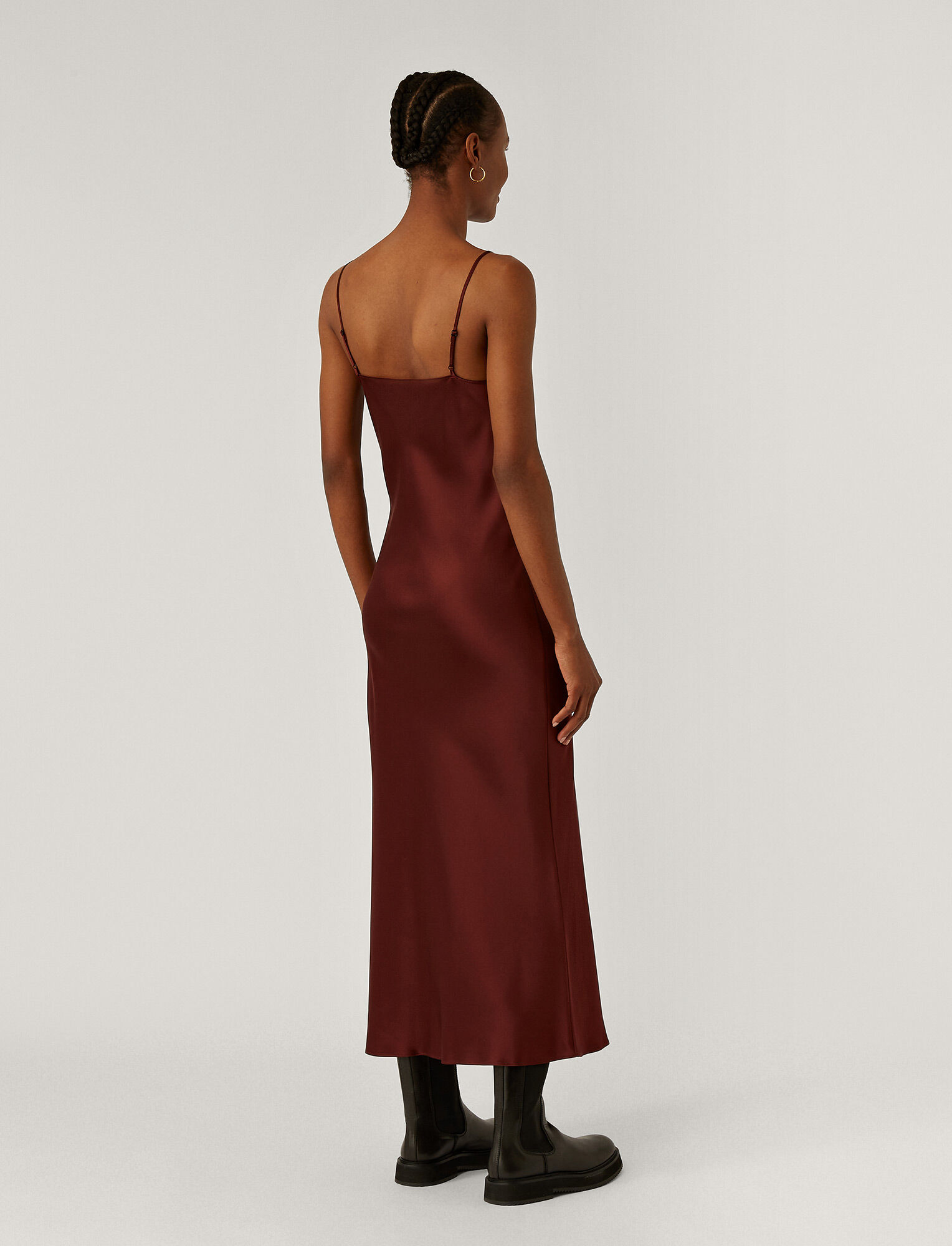 Joseph, Silk Satin Clea Dress, in GANACHE