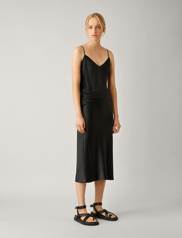 Joseph, Clea Top-Silk Satin, in BLACK