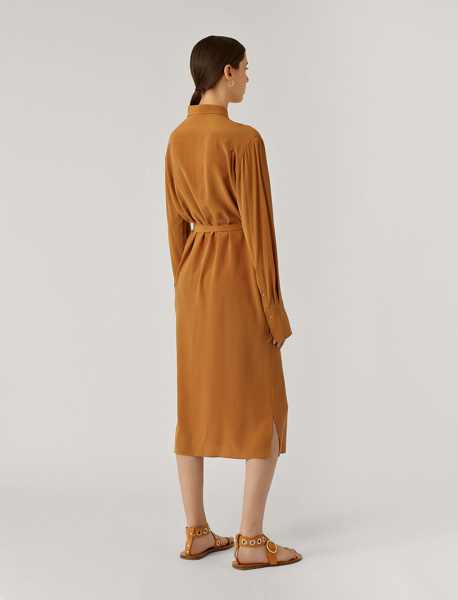 Joseph, Dold Crepe De Chine Dress, in Cognac