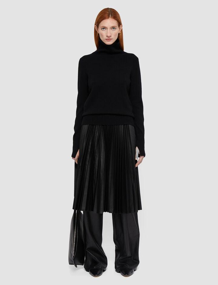 Joseph, Pleated Leather Seja Skirt, in BLACK