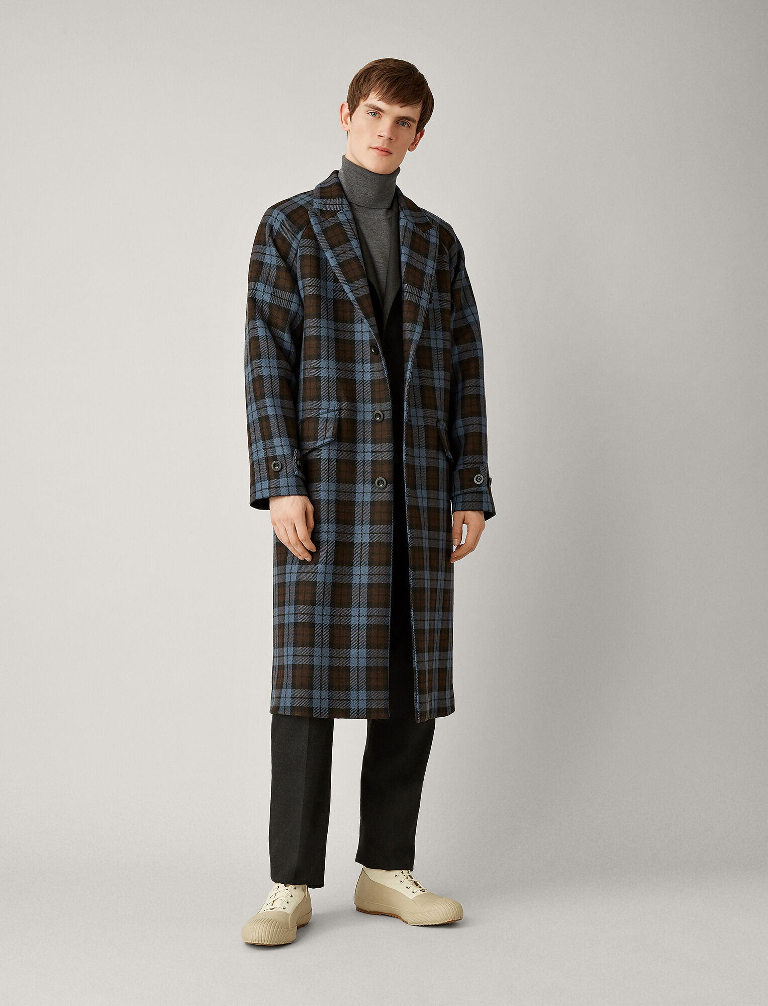 Joseph, Albert Double Face Check Coat, in ELEPHANT