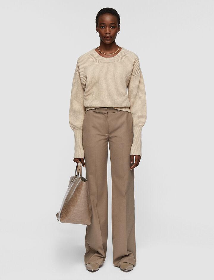 Joseph, Soft Wool Granite Morissey Trousers, in TAUPE