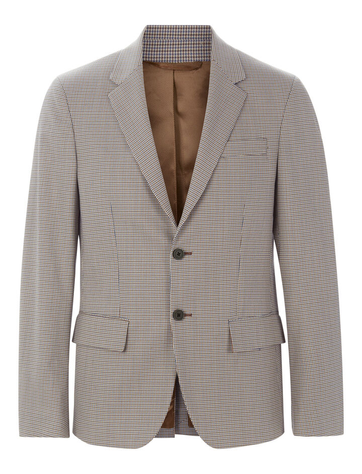 Joseph, Reading Mini Dogtooth Suiting Jacket, in CAMEL