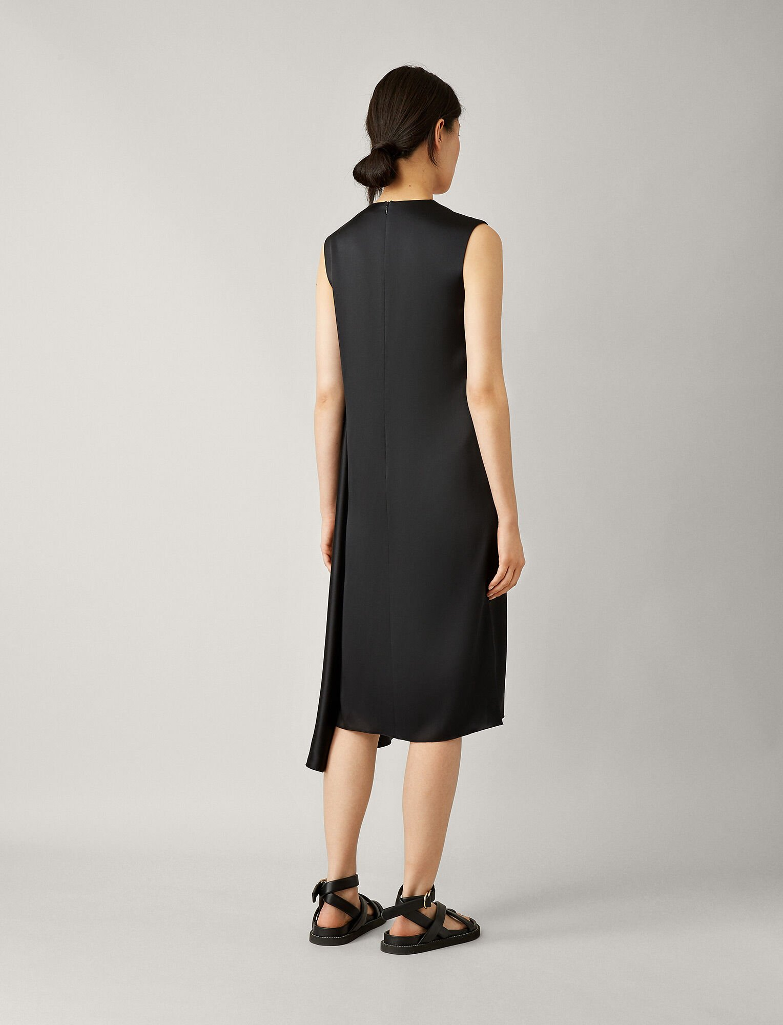 Joseph, Robe Carrol en satin double face, in BLACK