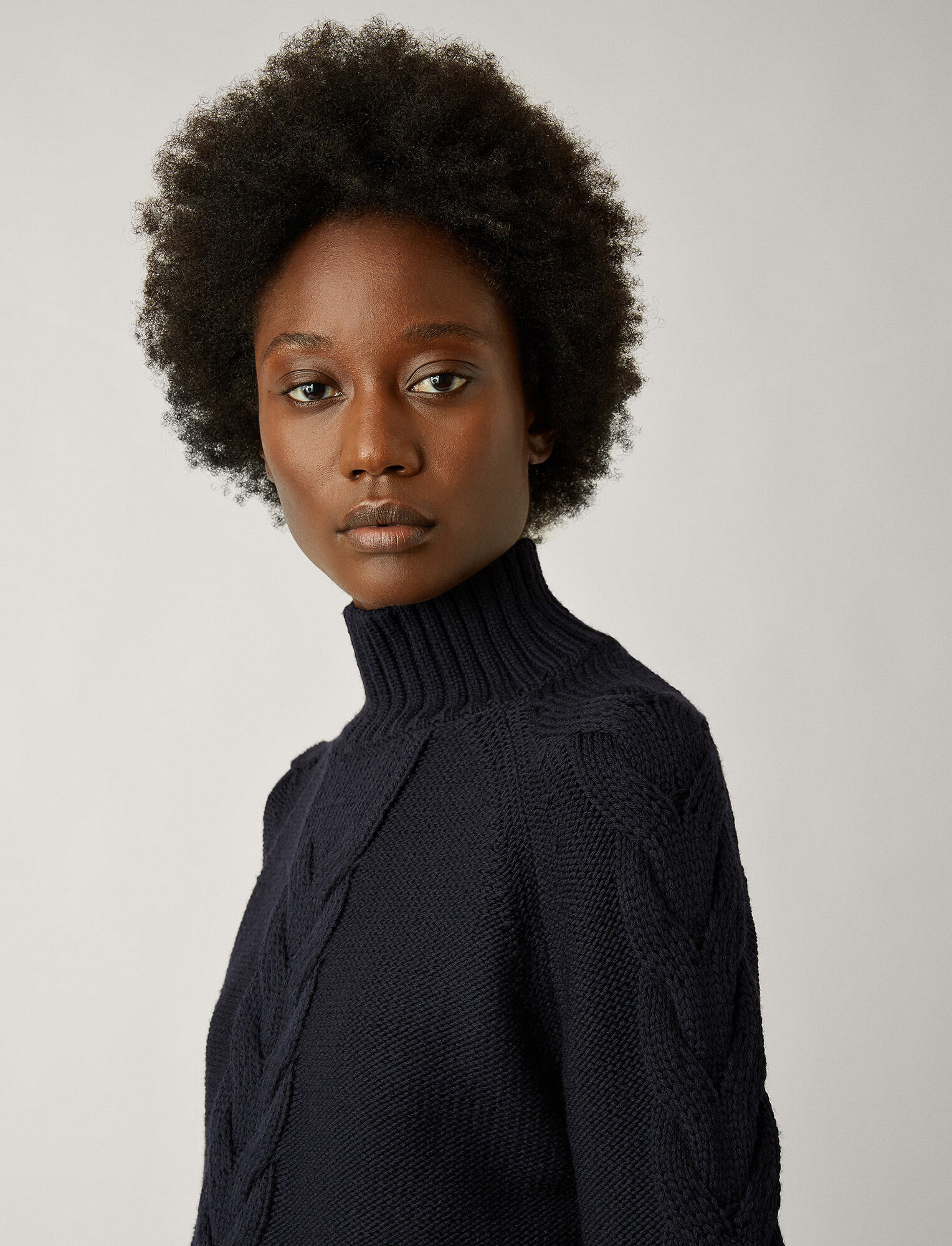 Joseph, High Neck Chunky Cable Knit Sweater, in NAVY