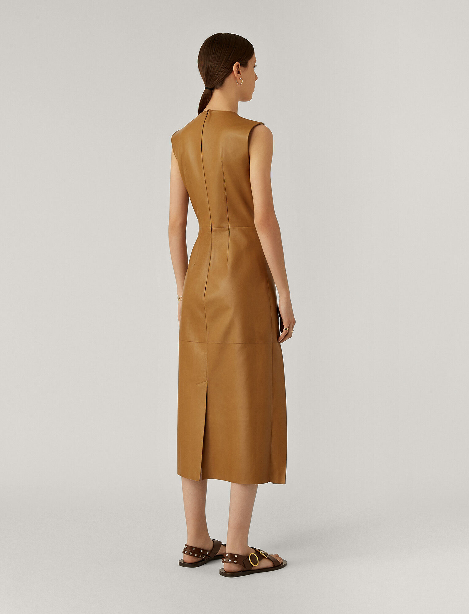 Joseph, Demry Nappa Leather Dress, in Saddle