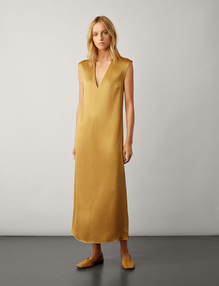 Joseph, Donall Satin Double Face Dress, in HAZEL