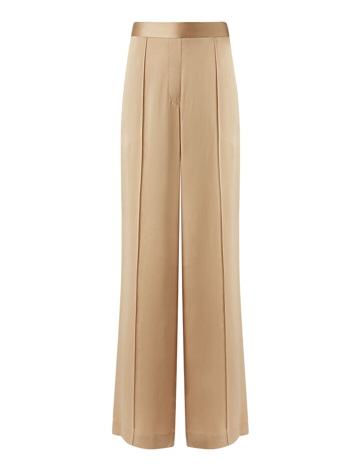 Joseph, Tawn Texture Satin Trousers, in Blush