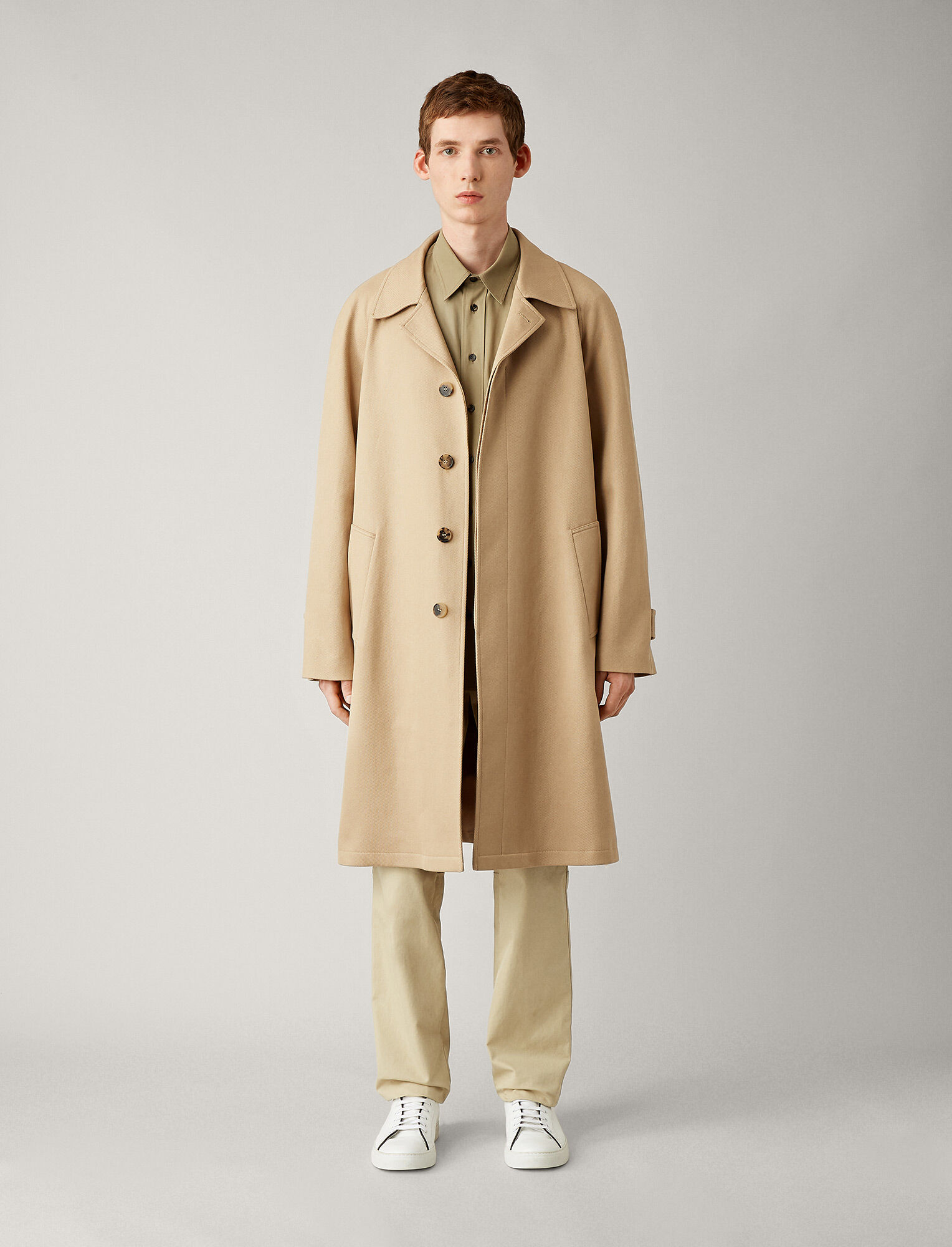 Joseph, Bryan Tricotine Cotton Coat, in CAMEL