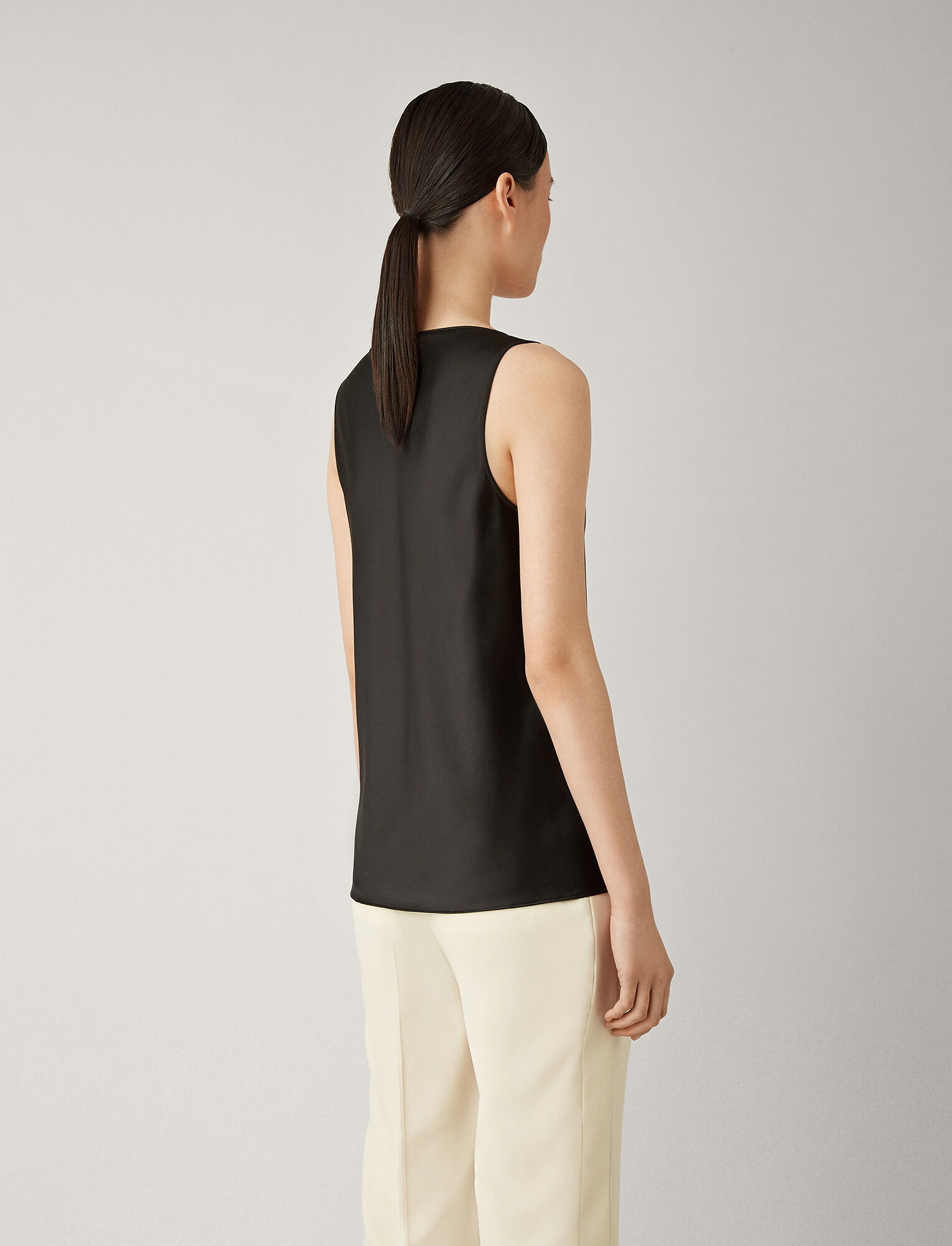 Joseph, Meg Silk Satin Blouse, in BLACK