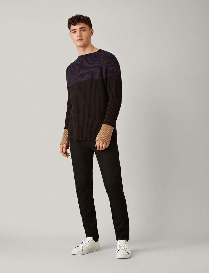 Joseph, Soft Wool Block Knit, in NAVY COMBO
