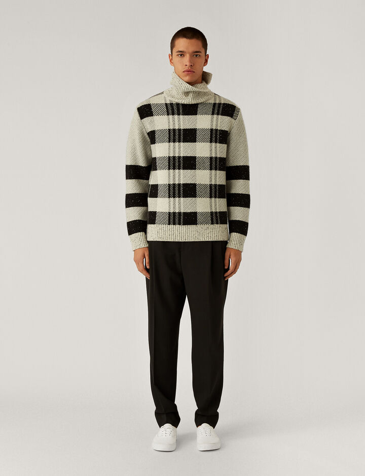 Joseph, High Neck Royal Check Knit Knitwear, in Black