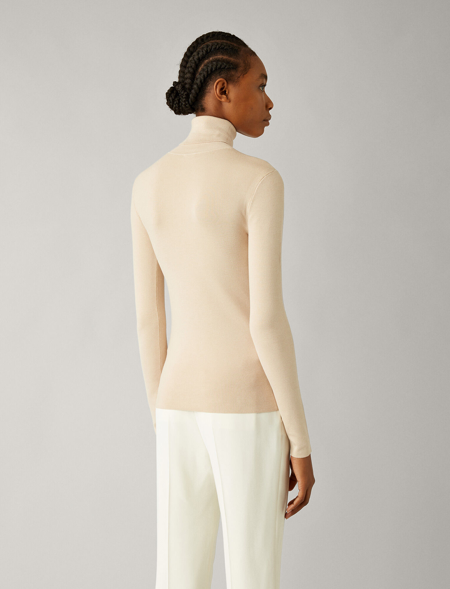 Joseph, Roll Neck Silk Stretch Knit, in LATTE