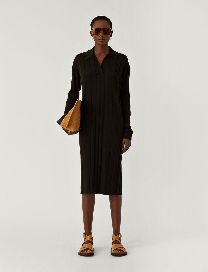 Joseph, O'size Dress-Fine Merinos, in BLACK