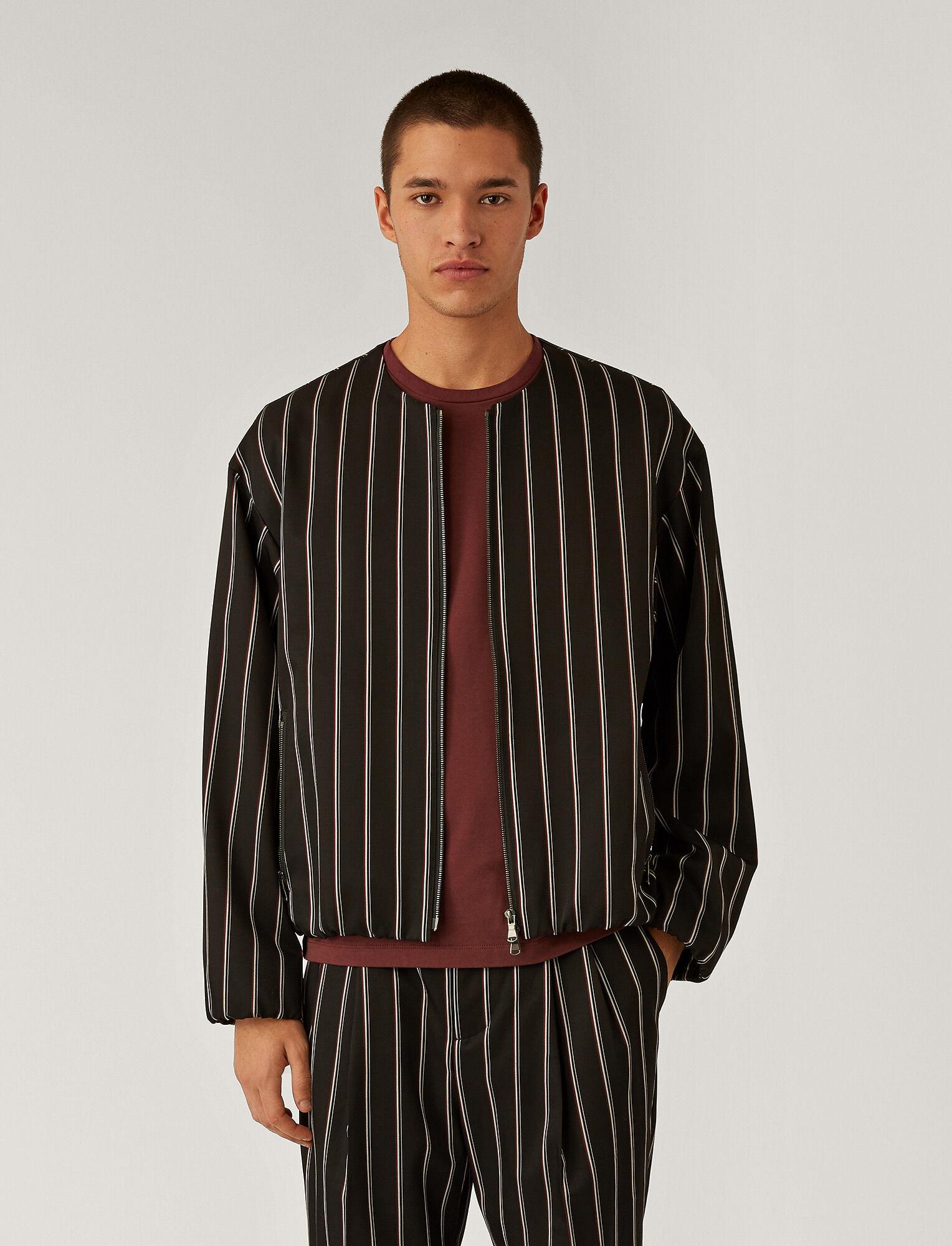 Joseph, Veste en viscose et laine à rayures, in Black