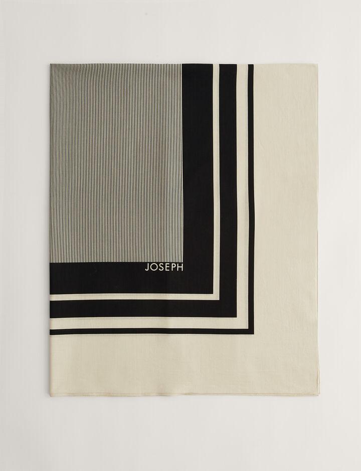 Joseph, Scarf-Silk Scarf Print, in BLACK/PORCELAIN