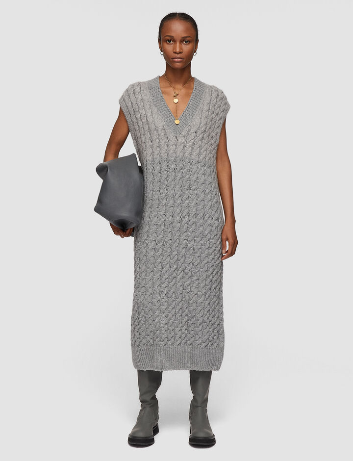 Joseph, Cable Knit Sless Dress, in Nickel