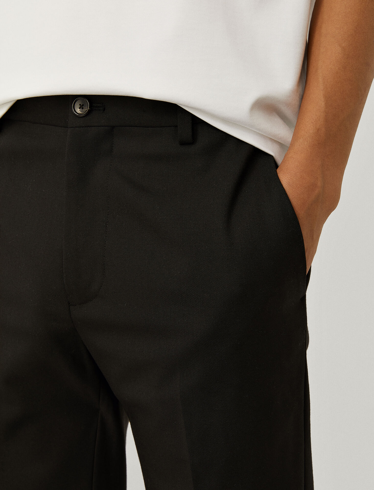 Joseph, Pantalon Jack en laine technique stretch, in BLACK